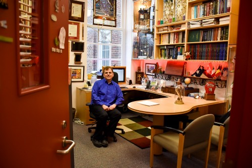 Guelph professor Massimo Marcone in his office filled with collectables.