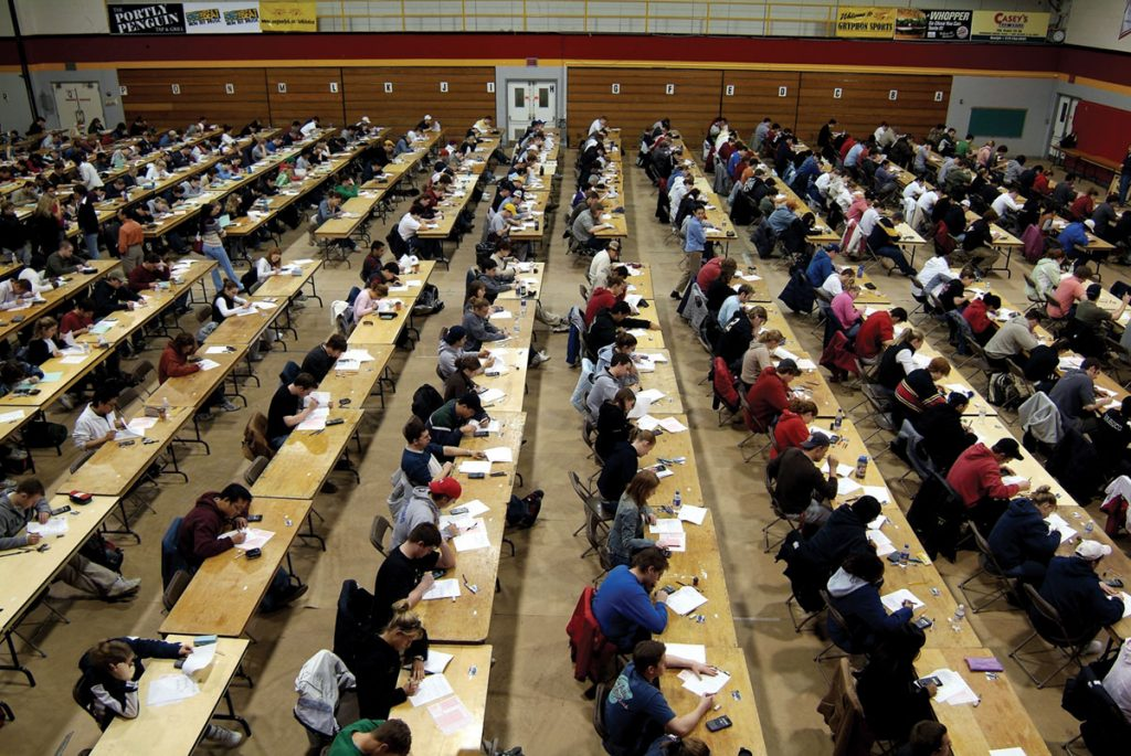 Students write exams at the University of Guelph in 2005.
