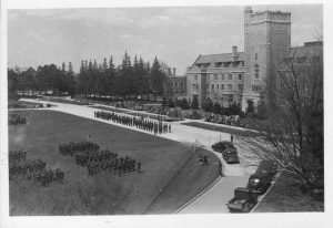 View from above of military assembly in front of Johnston Hall.